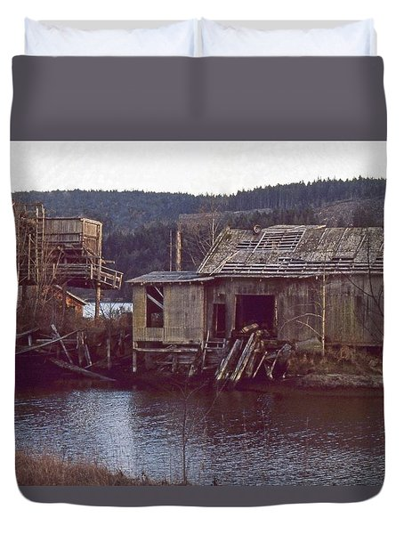 Duvet Cover featuring the photograph Discovery Bay Mill by Laurie Stewart