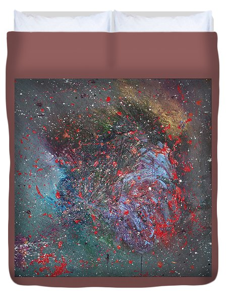Duvet Cover featuring the painting Discovery by Michael Lucarelli