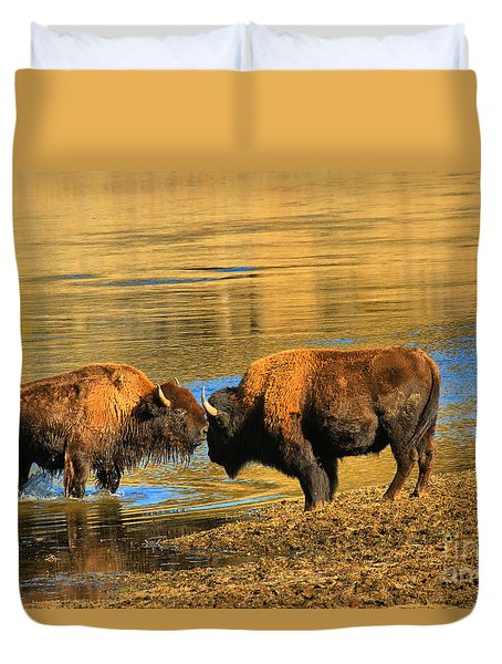 Duvet Cover featuring the photograph Discussing The Crossing by Adam Jewell