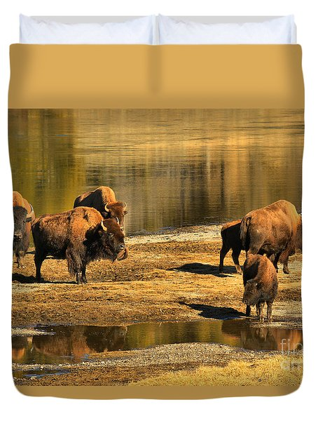 Duvet Cover featuring the photograph Discussing The River Crossing by Adam Jewell