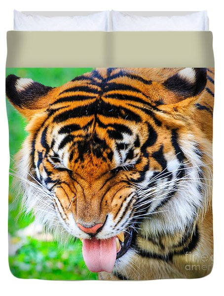 Disgusted Tiger Duvet Cover