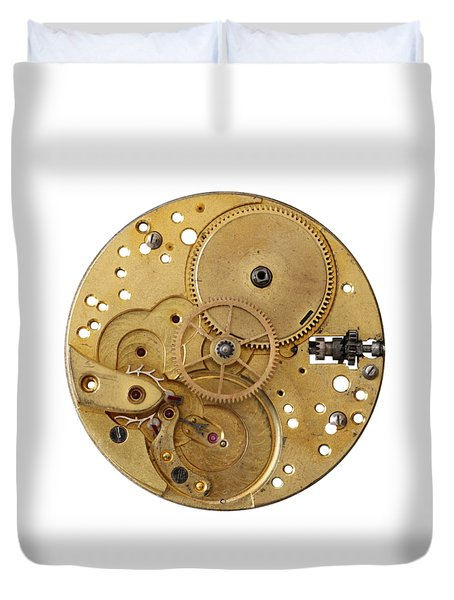 Duvet Cover featuring the photograph Dismantled Clockwork Mechanism by Michal Boubin