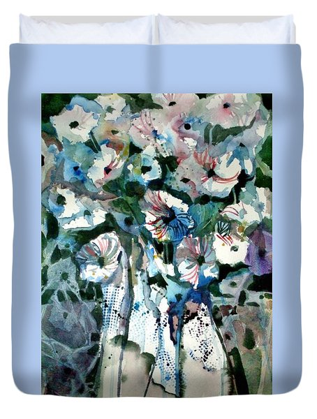 Duvet Cover featuring the painting Disney Petunias by Mindy Newman