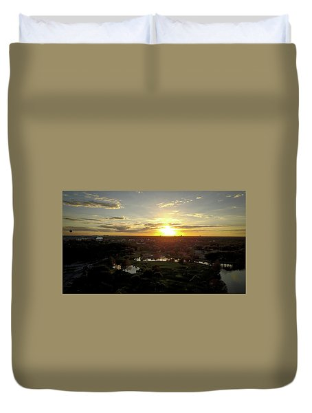 Duvet Cover featuring the photograph Disney Sunset by Michael Albright
