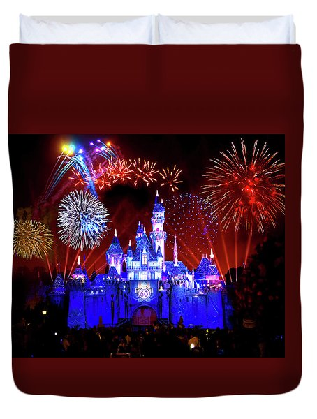 Disneyland 60th Anniversary Fireworks Duvet Cover by Mark Andrew Thomas
