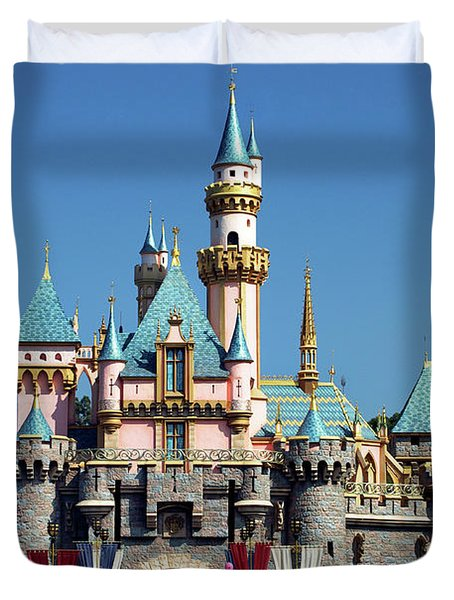 Duvet Cover featuring the photograph Disneyland Castle by Mariola Bitner