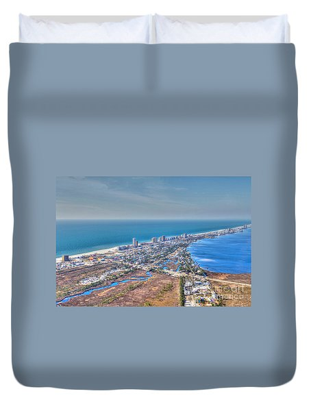 Distant Aerial View Of Gulf Shores Duvet Cover