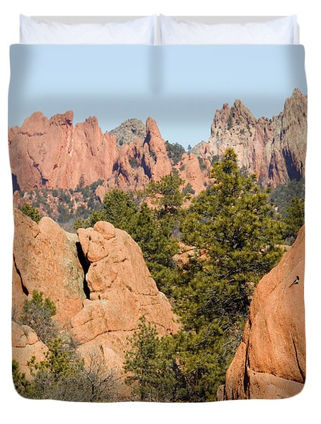 Distant Garden Of The Gods From Red Rock Canyon Duvet Cover