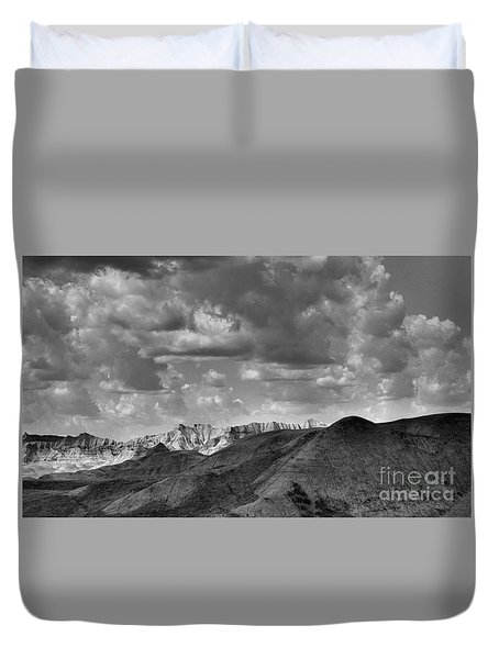 Duvet Cover featuring the photograph Distant Mountains The Badlands by Nadalyn Larsen