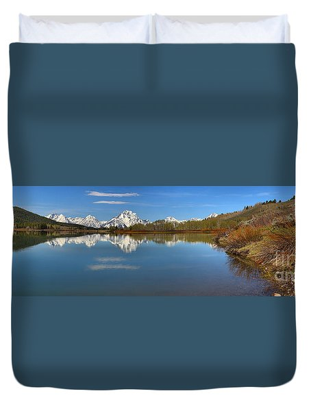 Distant Mt. Moran Reflections Duvet Cover by Adam Jewell