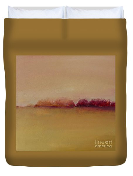 Distant Red Trees Duvet Cover