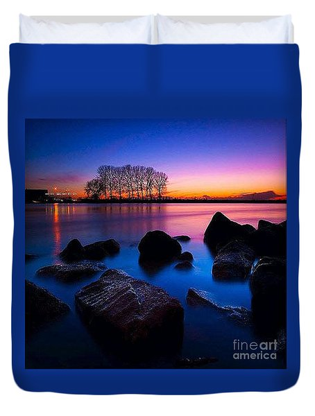 Distant Shores At Night Duvet Cover