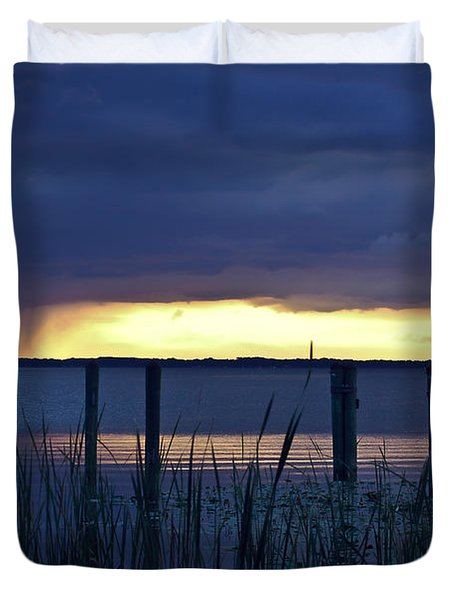 Distant Storms At Sunset Duvet Cover by DigiArt Diaries by Vicky B Fuller