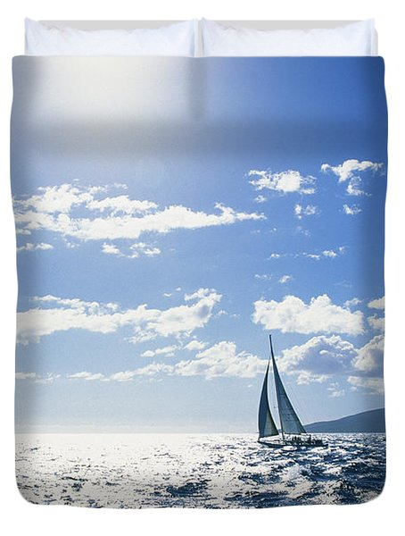 Distant View Of Sailboat Duvet Cover by Ron Dahlquist - Printscapes