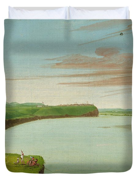 Distant View Of The Mandan Village Duvet Cover