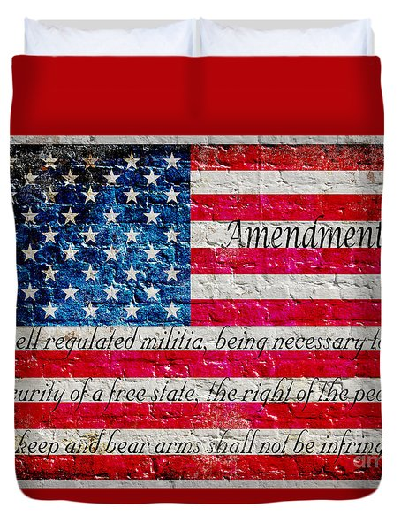 Distressed American Flag And Second Amendment On White Bricks Wall Duvet Cover