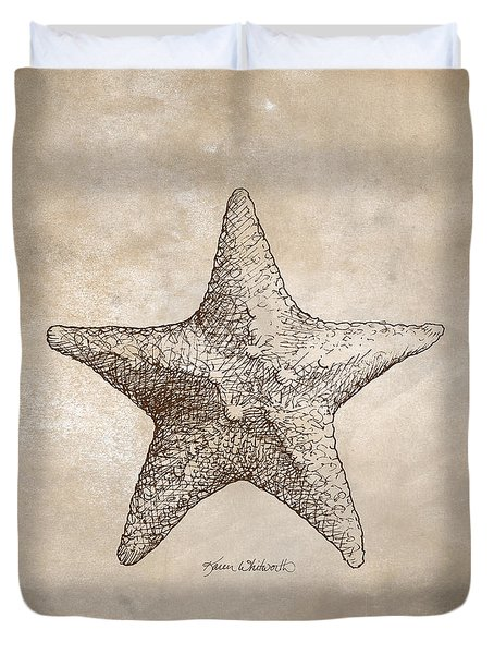 Duvet Cover featuring the drawing Distressed Antique Nautical Starfish by Karen Whitworth