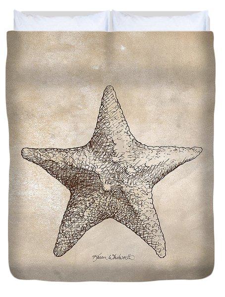 Distressed Antique Nautical Starfish Duvet Cover