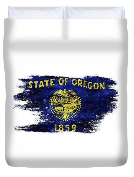 Distressed Oregon Flag Duvet Cover by Jon Neidert