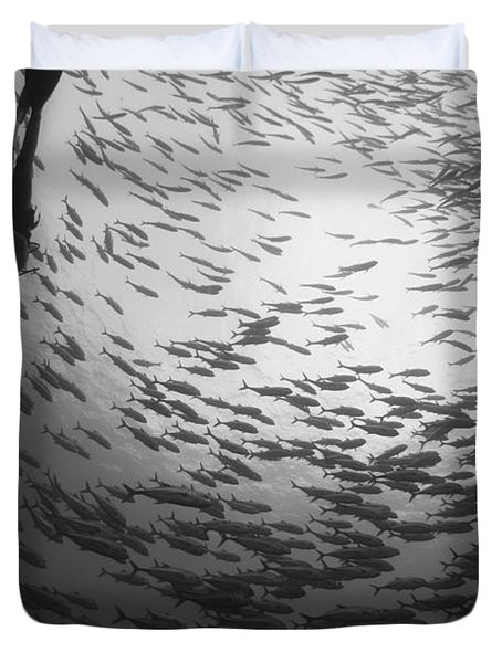 Diver And A Large School Of Bigeye Duvet Cover by Steve Jones