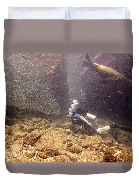 Diver And Sea Lion Duvet Cover