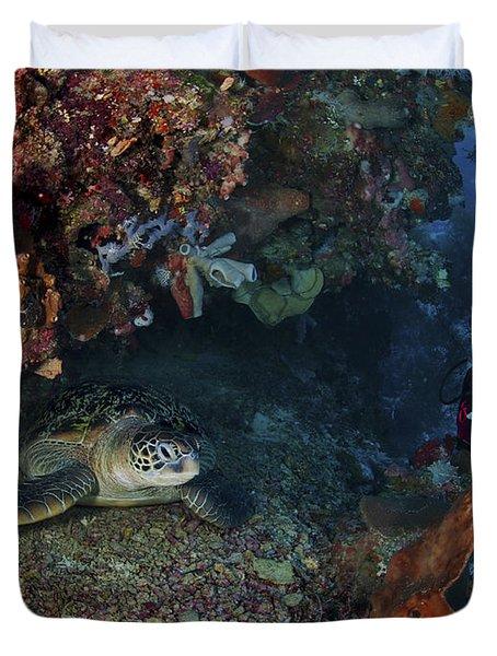 Diver And Sea Turtle, Manado, North Duvet Cover by Mathieu Meur