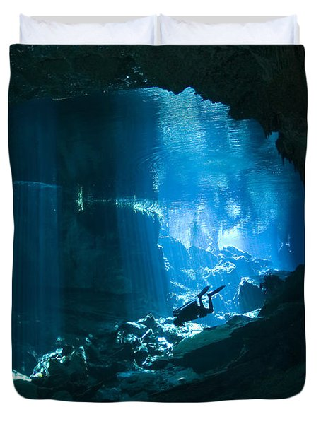 Diver Enters The Cavern System N Duvet Cover by Karen Doody