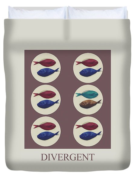 Duvet Cover featuring the digital art Divergent by Galen Valle