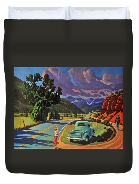 Duvet Cover featuring the painting Divergent Paths by Art West