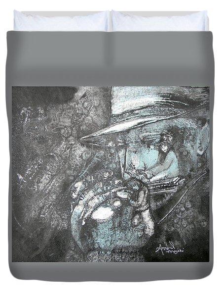Divine Blues Duvet Cover by Anne-D Mejaki - Art About You productions
