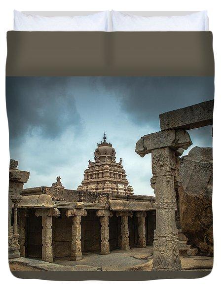 Duvet Cover featuring the photograph Divine Lepakshi - Temple Architecture by Ramabhadran Thirupattur