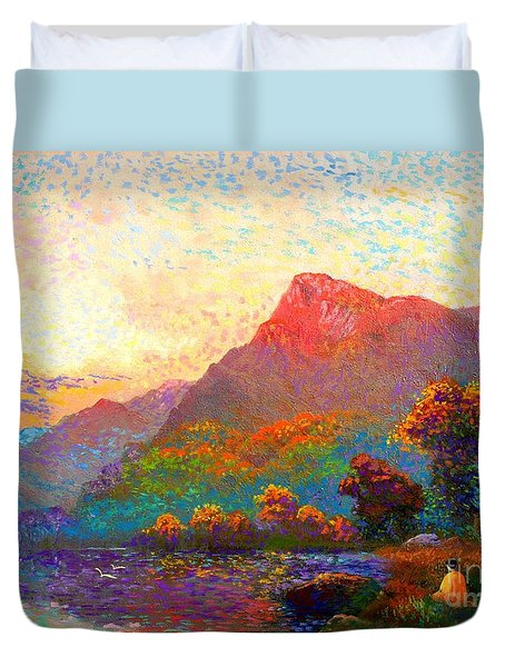 Duvet Cover featuring the painting  Buddha Meditation, Divine Light by Jane Small