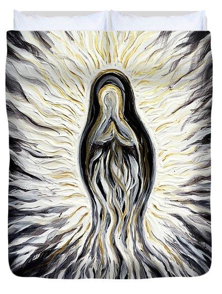 Divine Mother Black And White Duvet Cover