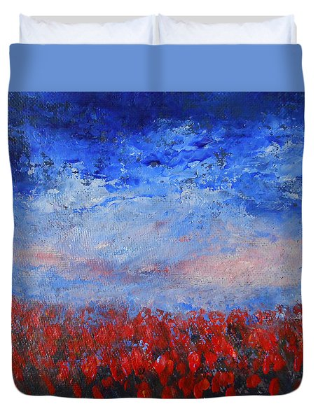 Duvet Cover featuring the painting Divine Red by Jane See