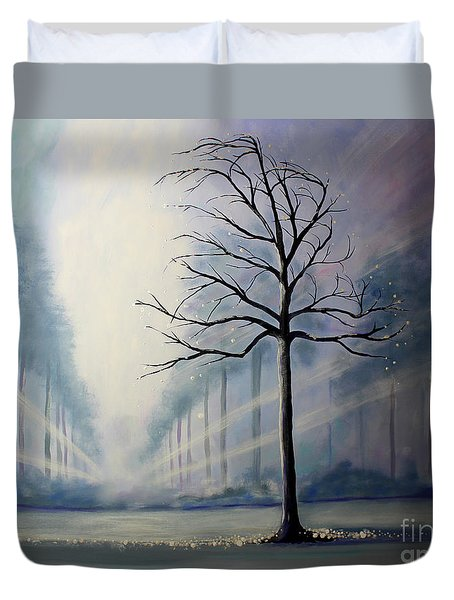 Duvet Cover featuring the painting Divine Serenity by Stacey Zimmerman