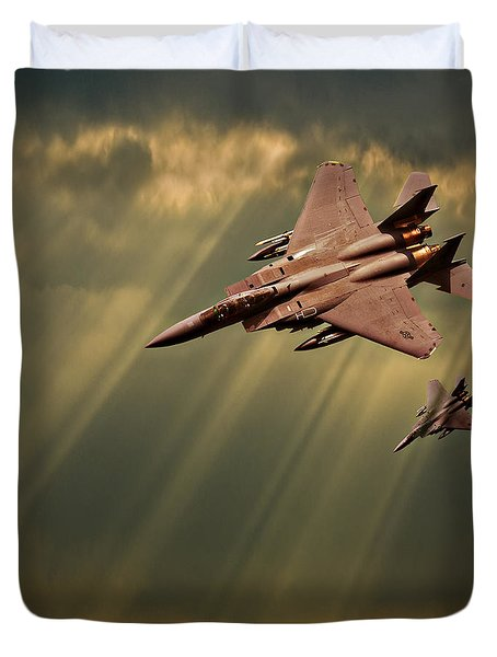 Duvet Cover featuring the photograph Diving Eagles by Meirion Matthias
