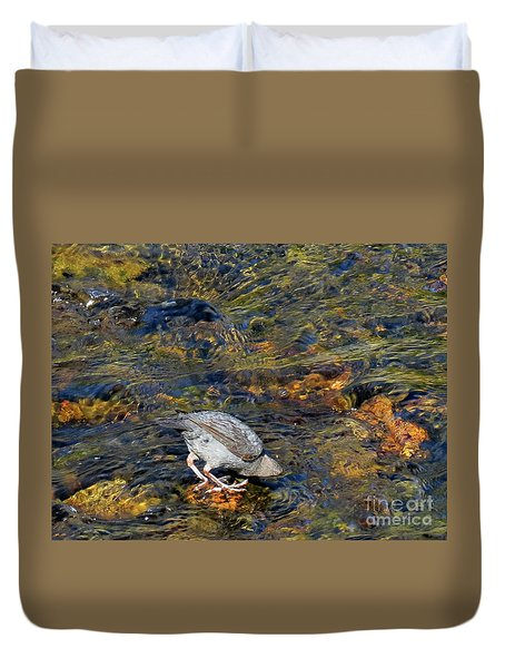 Duvet Cover featuring the photograph Diving For Food by Ausra Huntington nee Paulauskaite