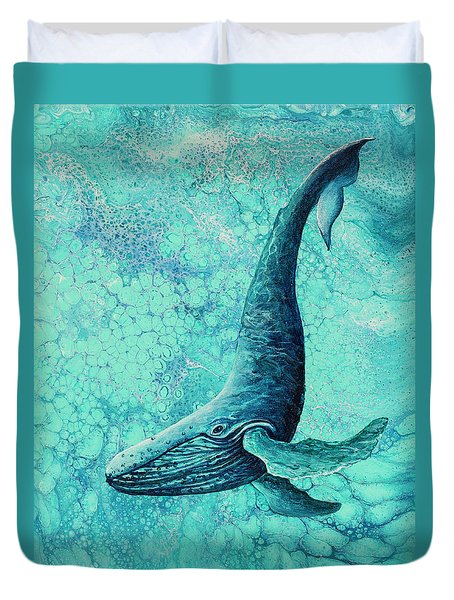 Duvet Cover featuring the painting Diving Into Blue by Darice Machel McGuire