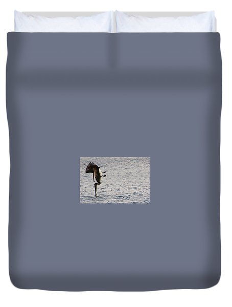 Duvet Cover featuring the photograph Diving Pelican by Laurel Talabere