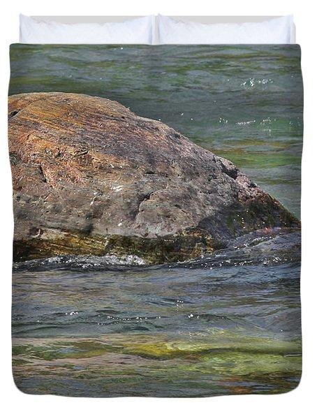 Diving Turtle Rock - Flathead River Middle Fork Mt Duvet Cover by Christine Till