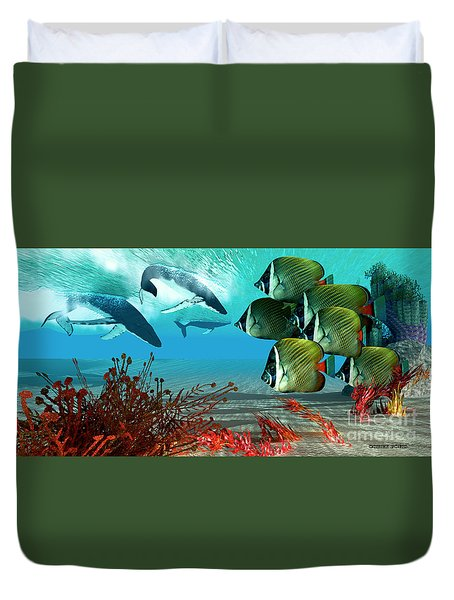 Diving Whales Duvet Cover by Corey Ford