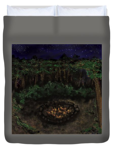 Dancing Naked In The Forest Back Cover Duvet Cover