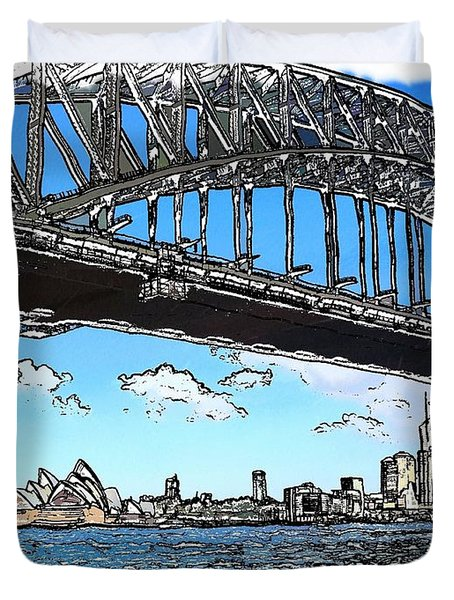 Duvet Cover featuring the photograph Do-00058 Sydney Harbour Bridge And Opera House by Digital Oil