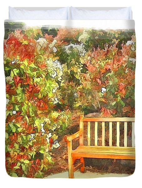 Duvet Cover featuring the photograph Do-00122 Inviting Bench by Digital Oil