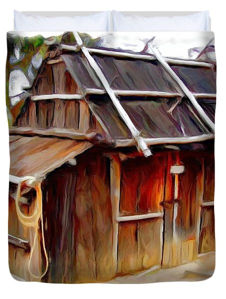 Duvet Cover featuring the photograph Do-00129 Old Cottage by Digital Oil