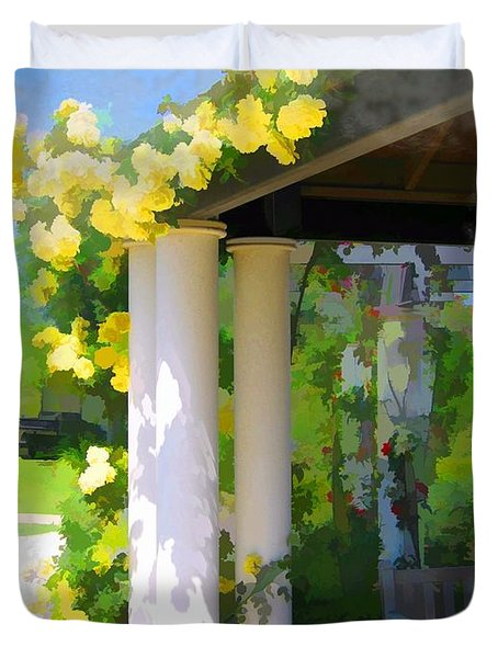 Duvet Cover featuring the photograph Do-00137 Yellow Roses by Digital Oil