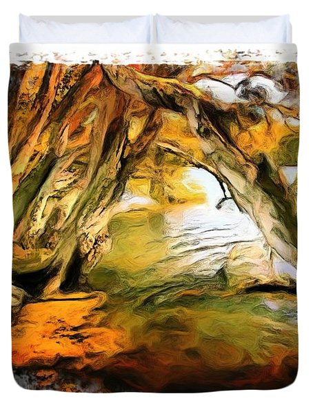 Duvet Cover featuring the photograph Do-00268 Trees On Water In Avoca Estuary by Digital Oil