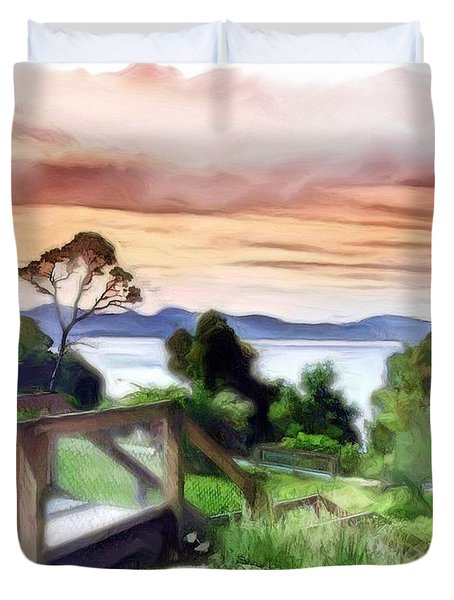 Do-00272 Look Out From Sarah Island Duvet Cover