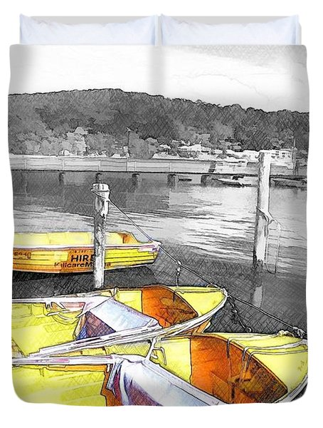 Do-00279 Yellow Boats Duvet Cover