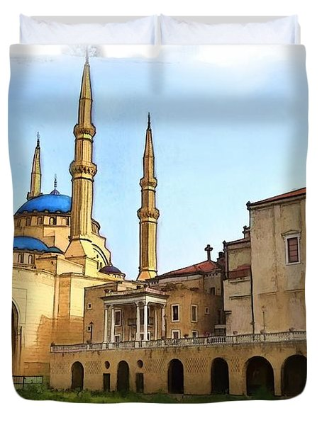 Duvet Cover featuring the photograph Do-00362al Amin Mosque And St George Maronite Cathedral by Digital Oil